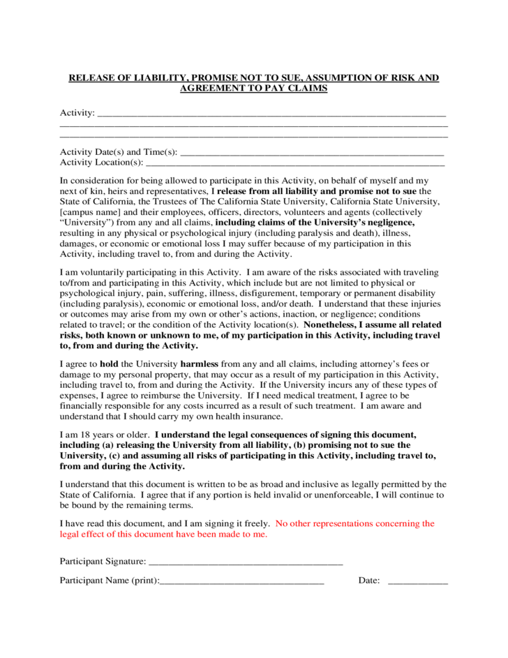 Release Of Liability And Promise Not To Sue California State