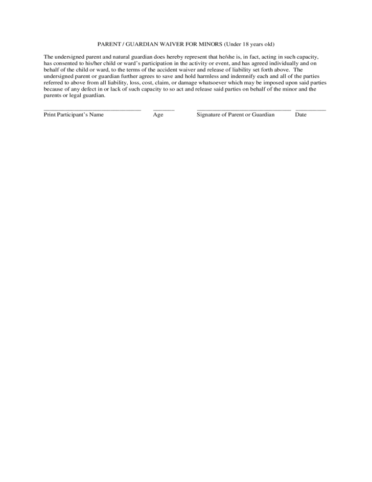 liability release form – General Liability Waiver