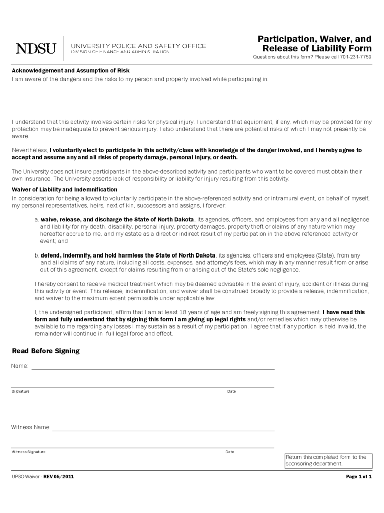 Release of liability form 8 free templates in pdf word for Participation waiver template