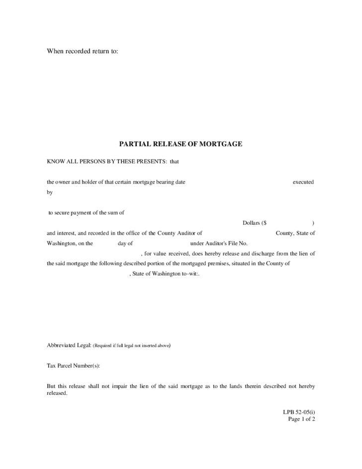 Partial Release of Mortgage Form Washingson Free Download – Release of Mortgage Form