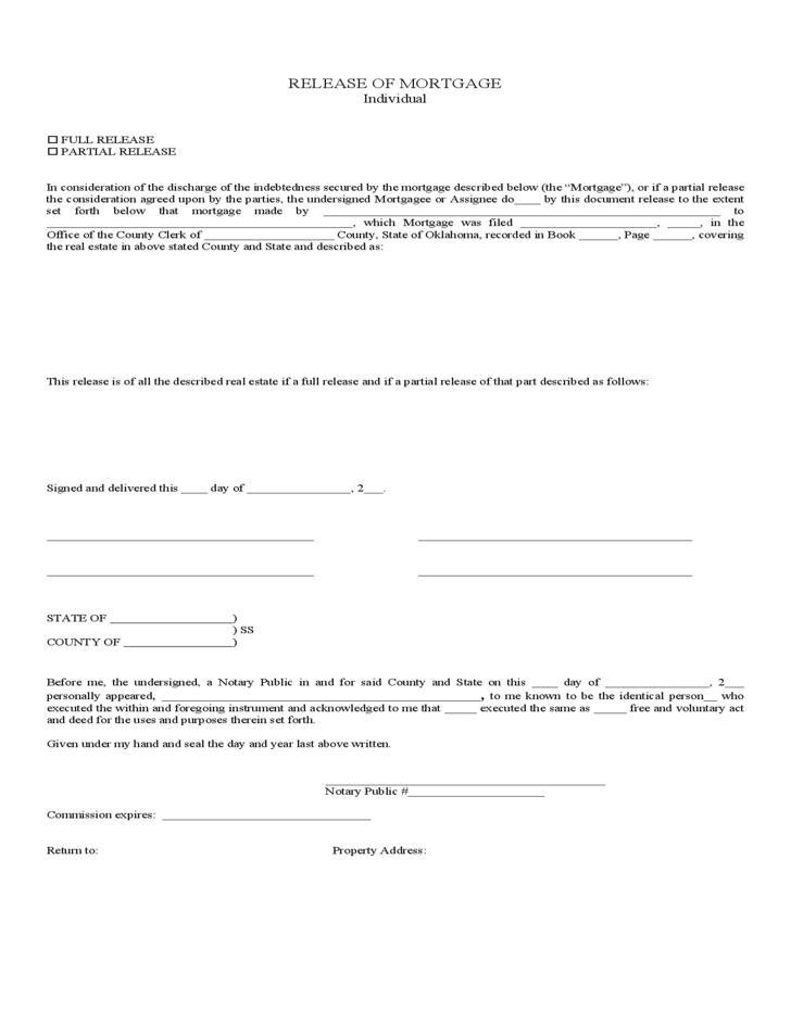 Release Of Mortgage Form Individual Free Download