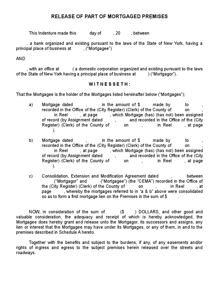 Doc585656 Release of Mortgage Form Release of Mortgage Form 9 – Release of Interest Form