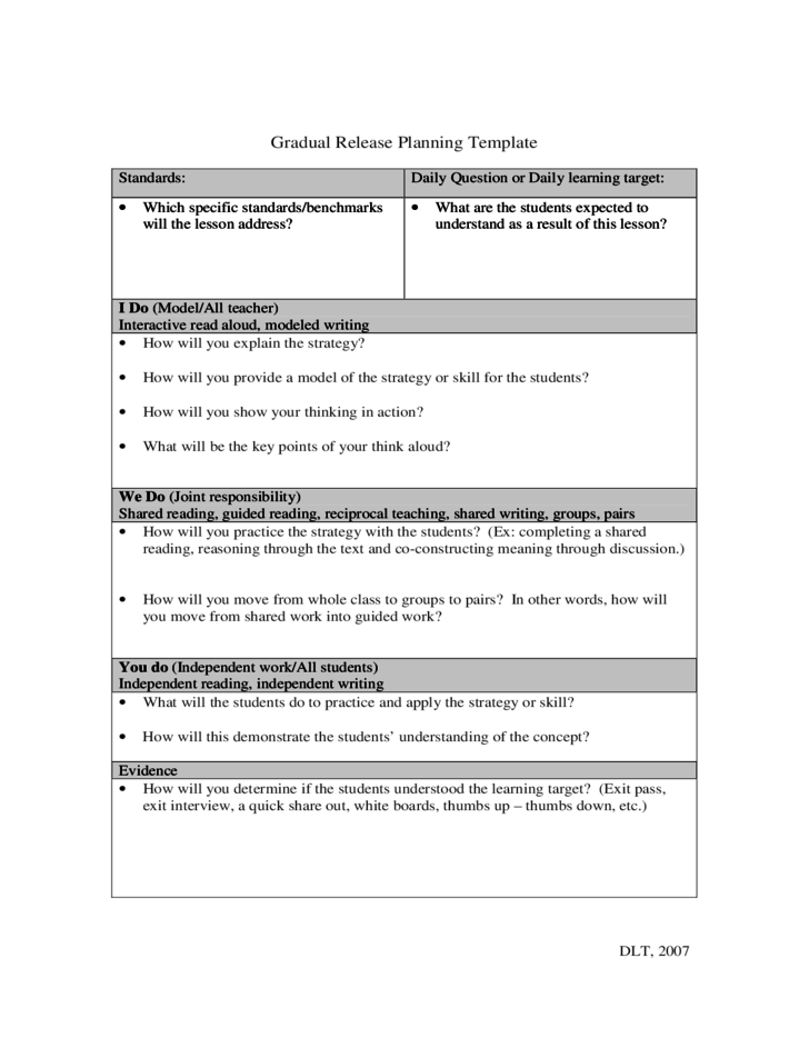Gradual Release Lesson Plan Template Choice Image Template Design