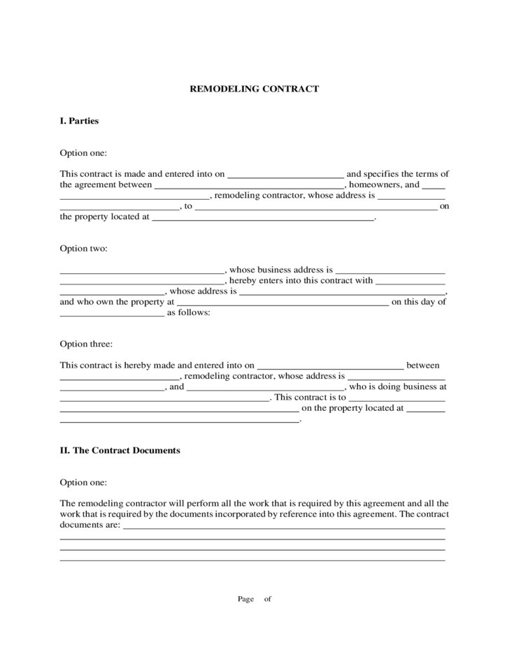 Renovation Contract Templates to Download for Free