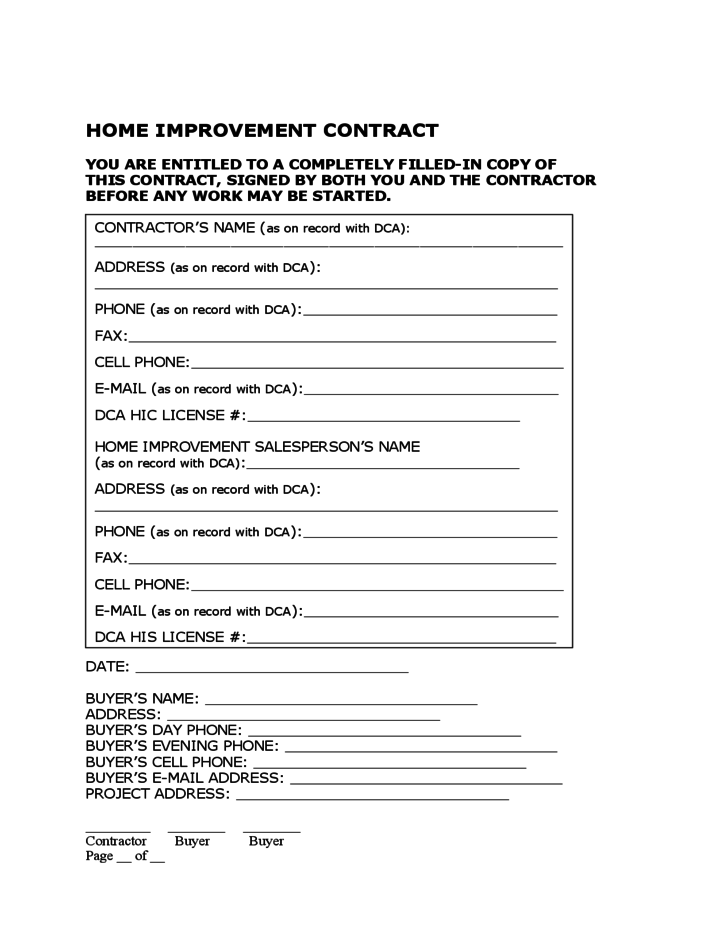 Home Improvement Contract Free Download