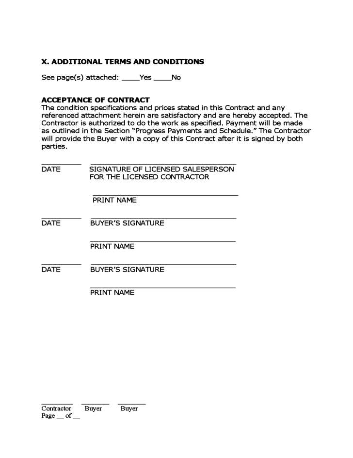 0 hours contract template - home improvement contract free download