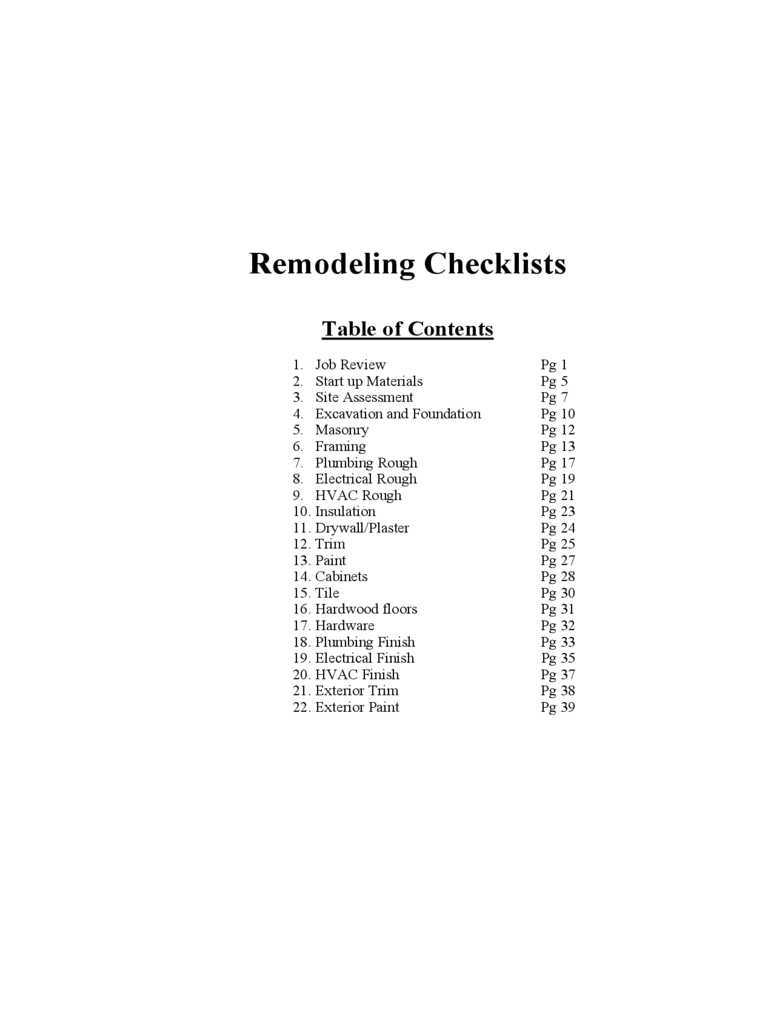 Remodeling Checklists