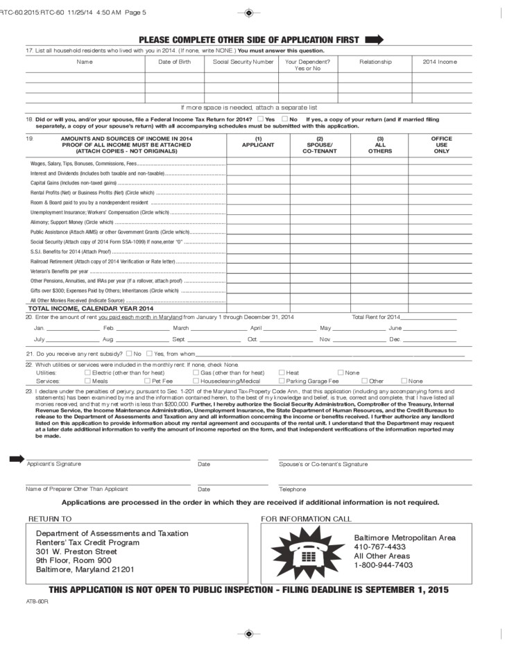 Renters' Tax Credit Instructions and Application Form - Maryland ...