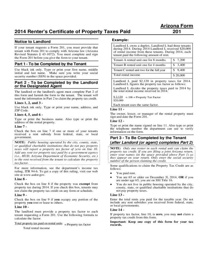 2014 Renter's Certificate of Property Taxes Paid - Arizona