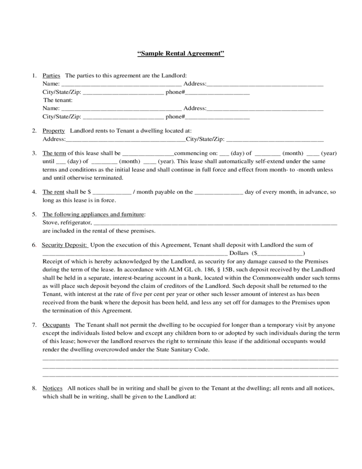 Sample Rental Agreement Free Download