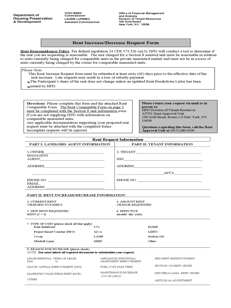 Rent Increase/Decrease Request Form - New York Free Download