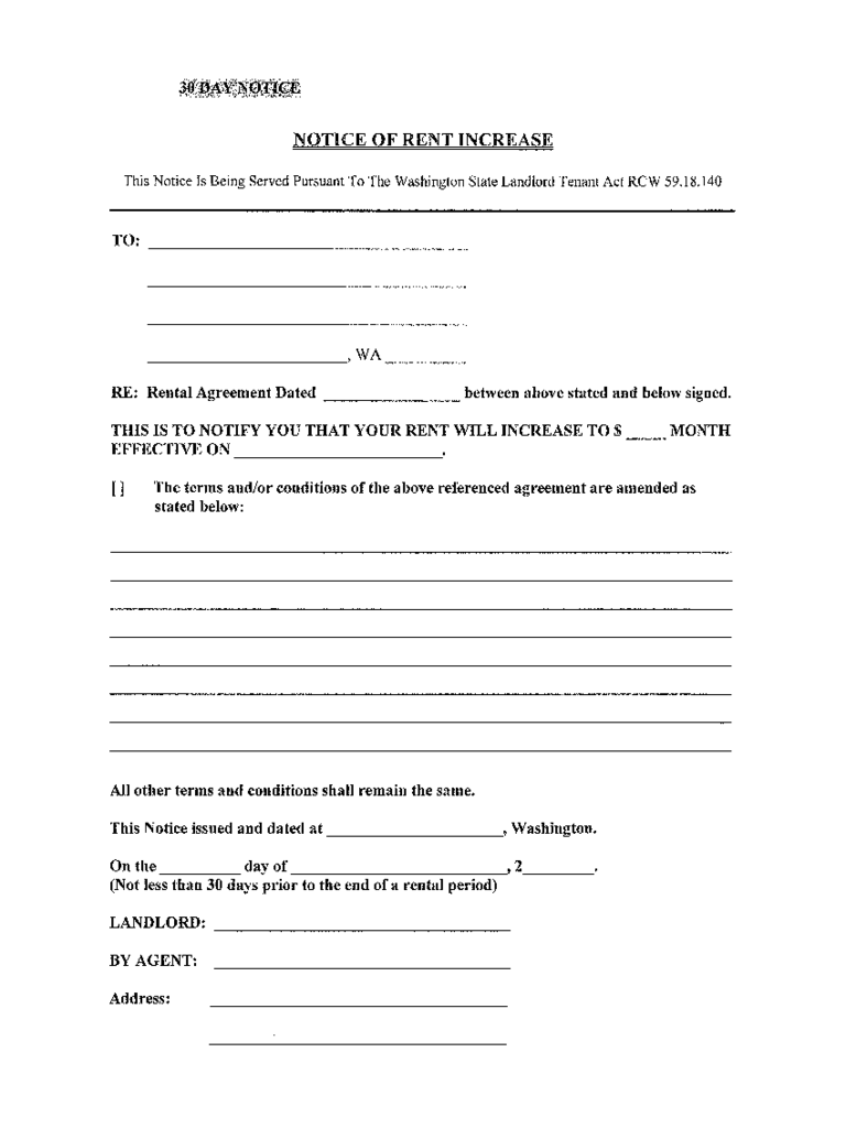 notice of rent increase washington state free download
