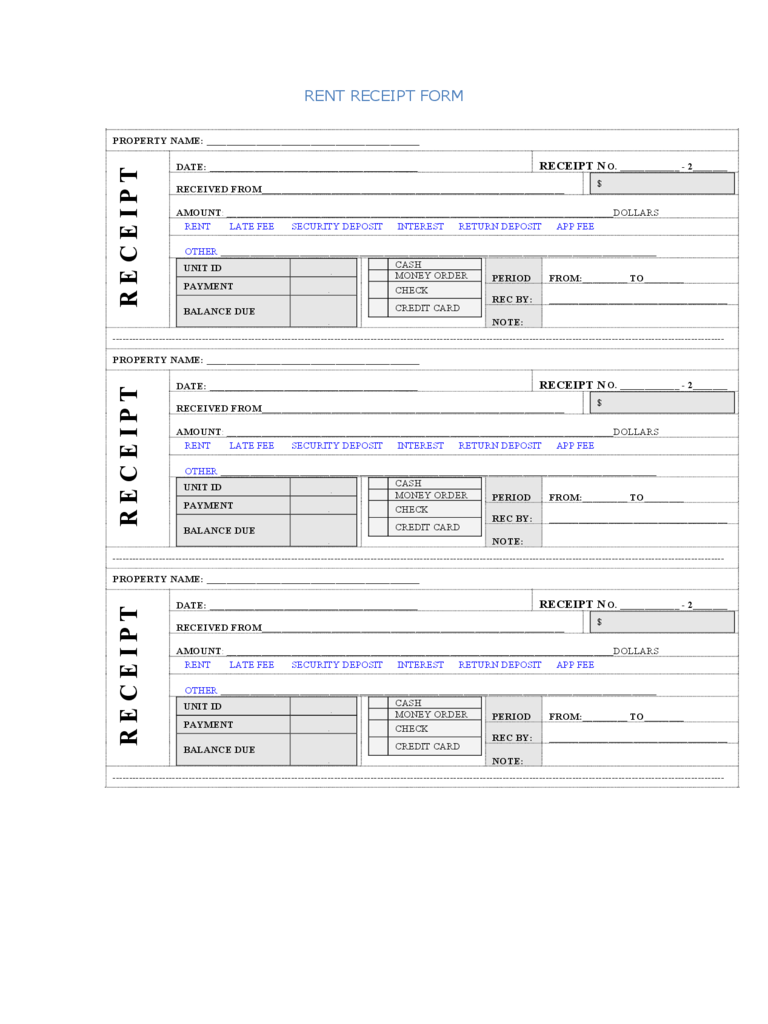 Rent Receipt Format  Check Receipt Template