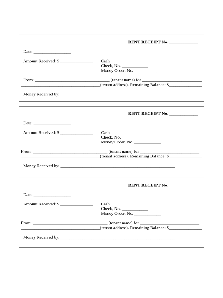 rent receipt form templates in pdf word excel sample form for rent receipt