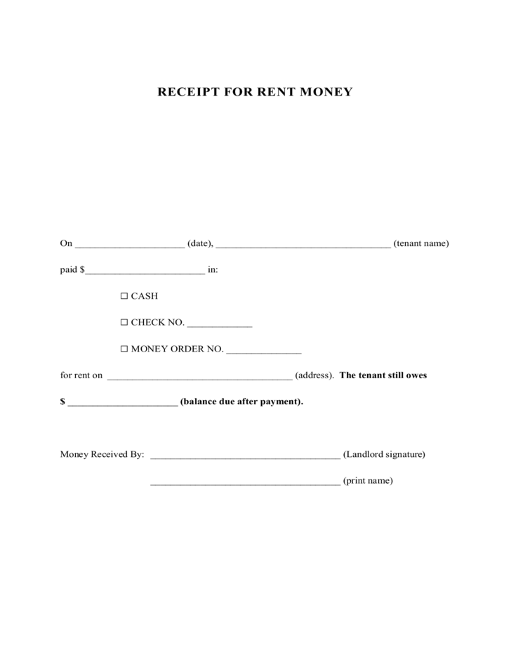 1 Rent Receipt Template