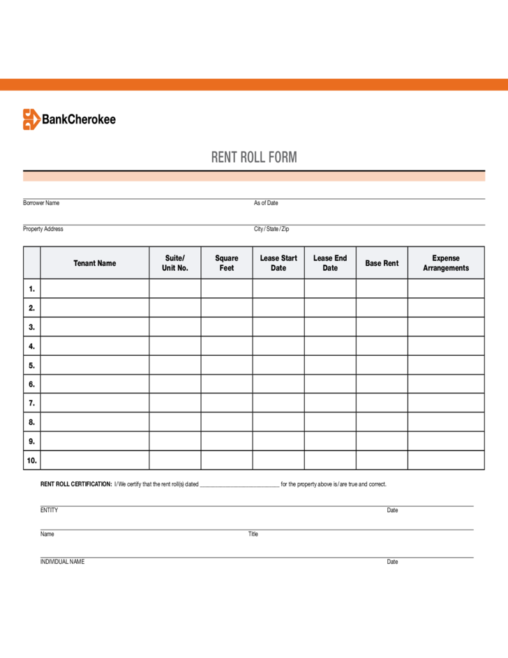Sample Form for Rent Roll