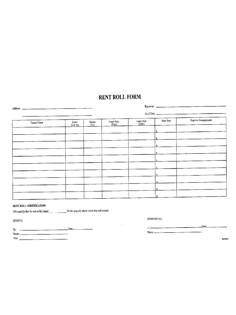 Rent Roll Form 5 Free Templates in PDF Word Excel Download – Rent Roll Form