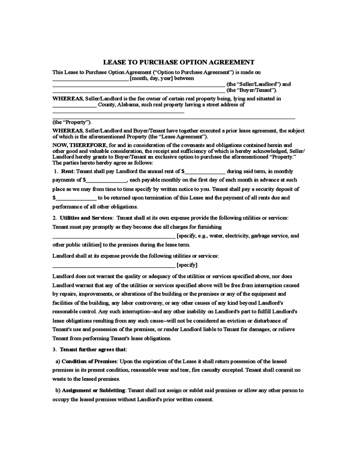 rent to own agreement sample form free download