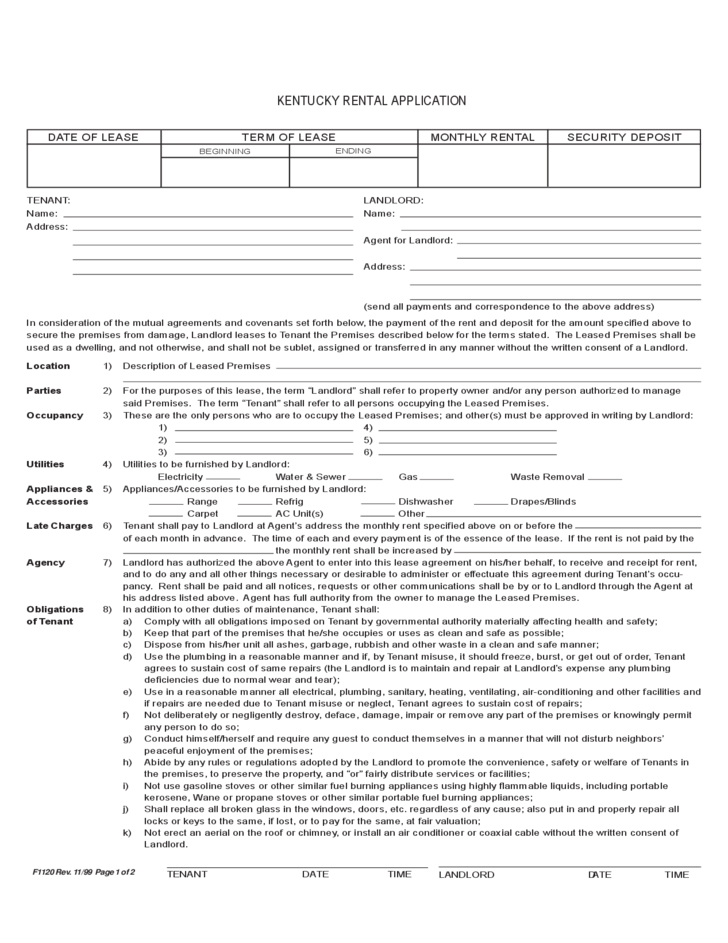 Kentucky Rental Application Free Download