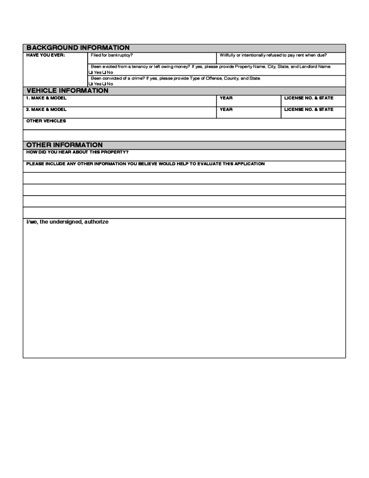 Delaware Rental Application