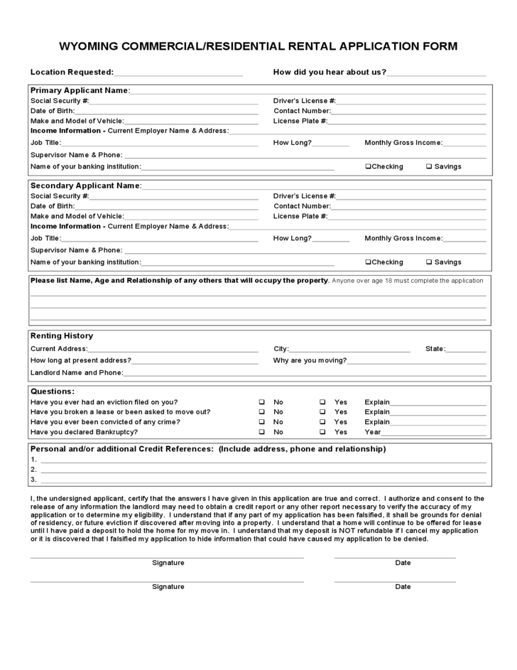 Wyoming Commercial/Residential Rental Application Form
