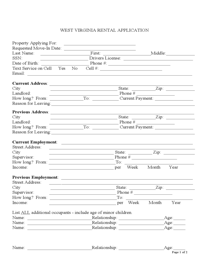 west virginia rental application free download