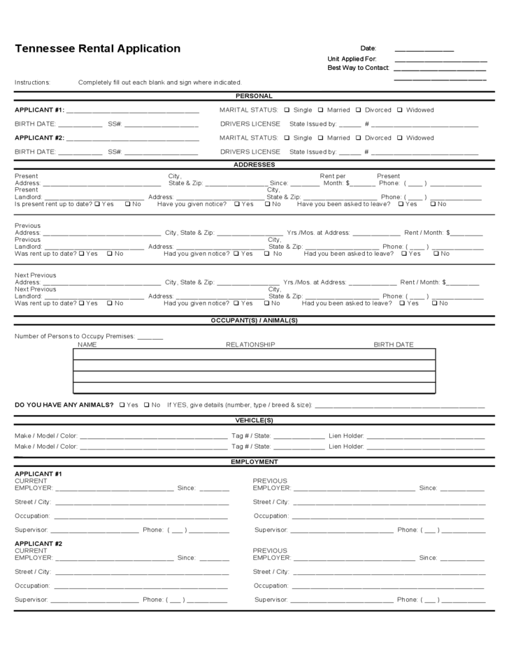 tennessee rental application free download