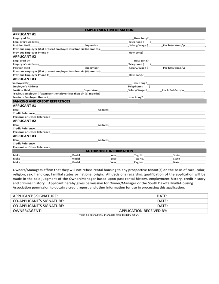 South Dakota Rental Application