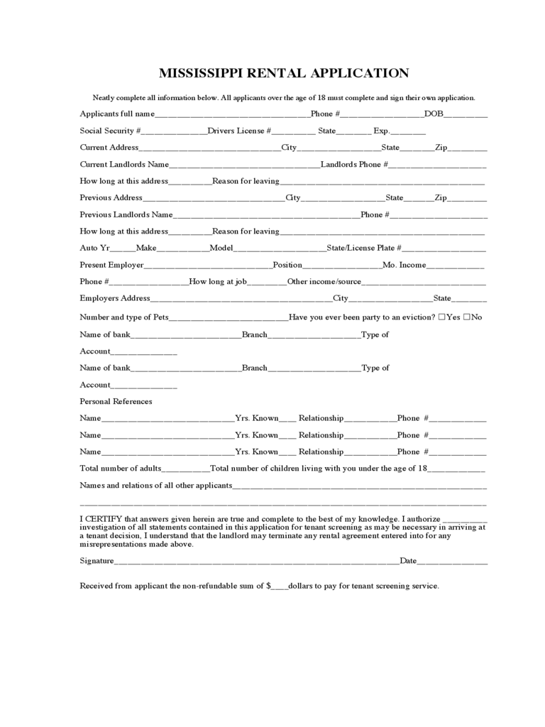 mississippi rent and lease template