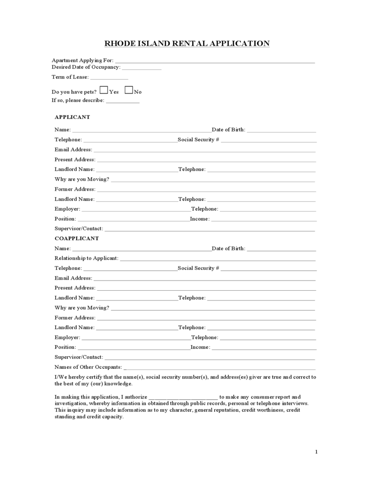 Rhode Island Rental Application