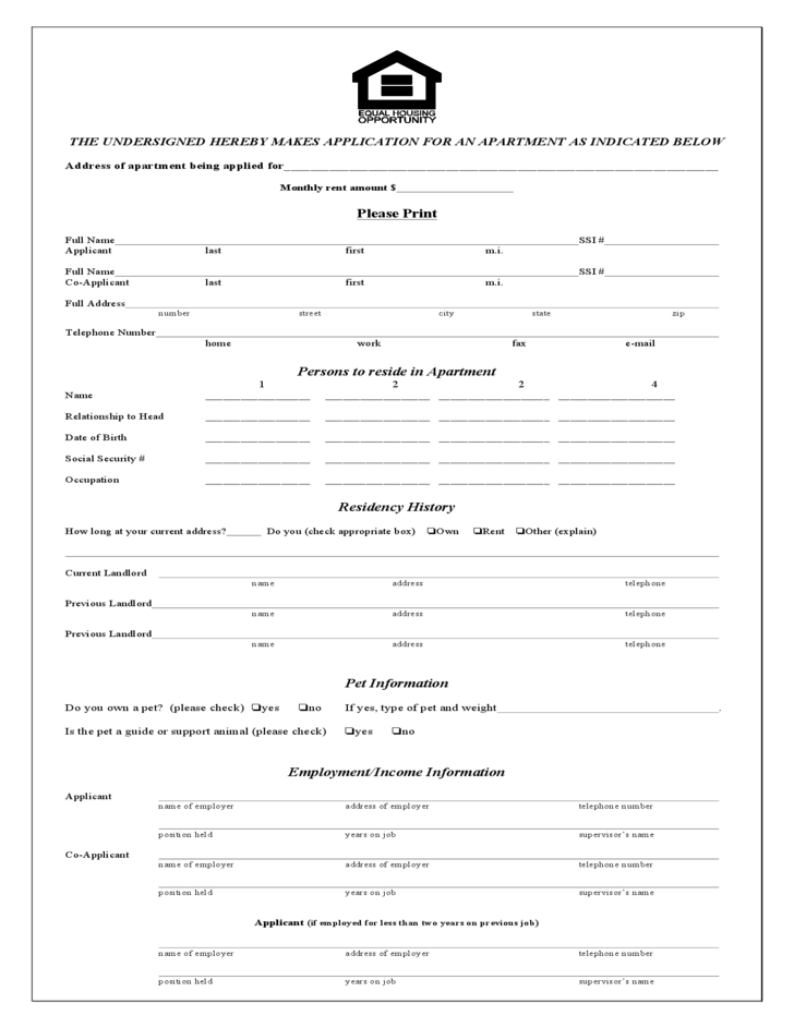 rental tenant application form