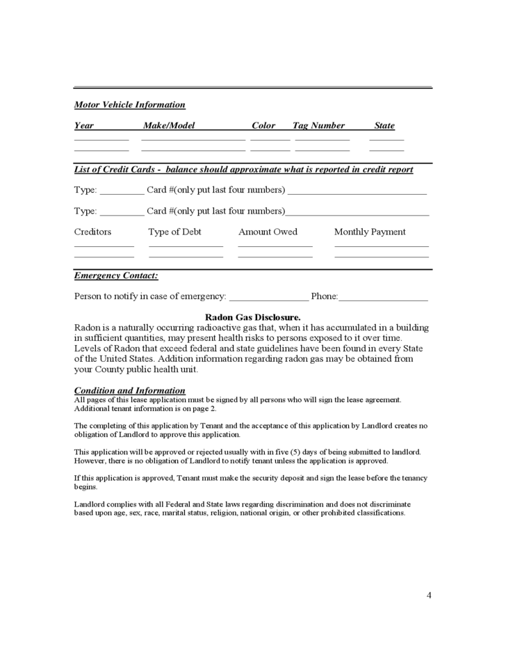 Alabama Residential Lease Application
