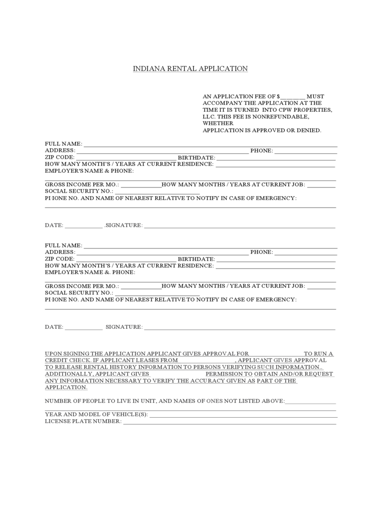 Indiana Standard Rental Application
