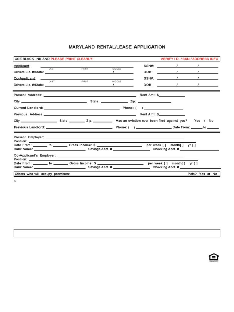 Maryland rent and lease template free templates in pdf word maryland rental application form aiddatafo Image collections