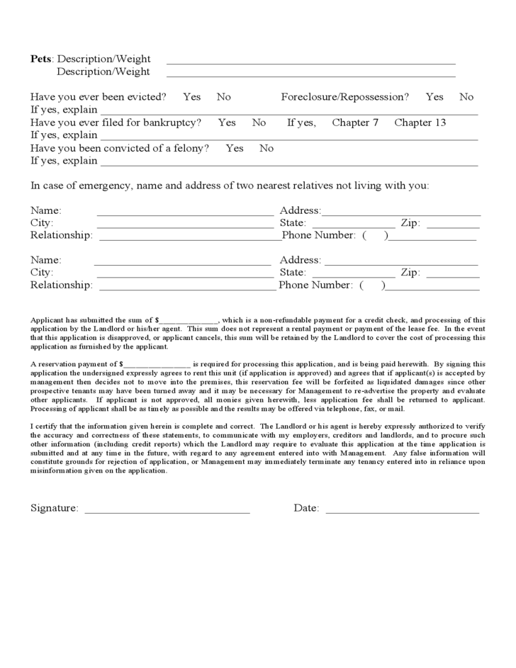 Georgia Rental Application Form