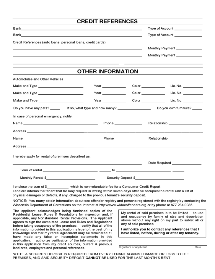 Wisconsin Rental Application Form