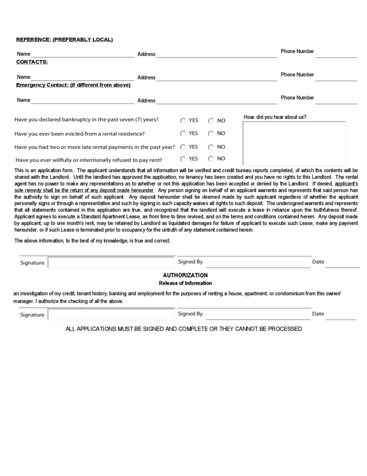 Rhode Island Rental Application Form