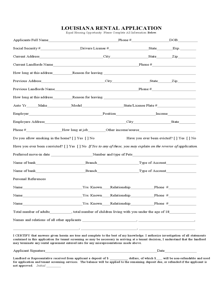 louisiana rent and lease template