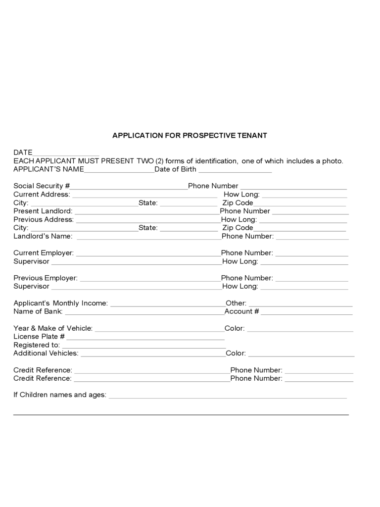 Application Form for Prospective Tenant Free Download
