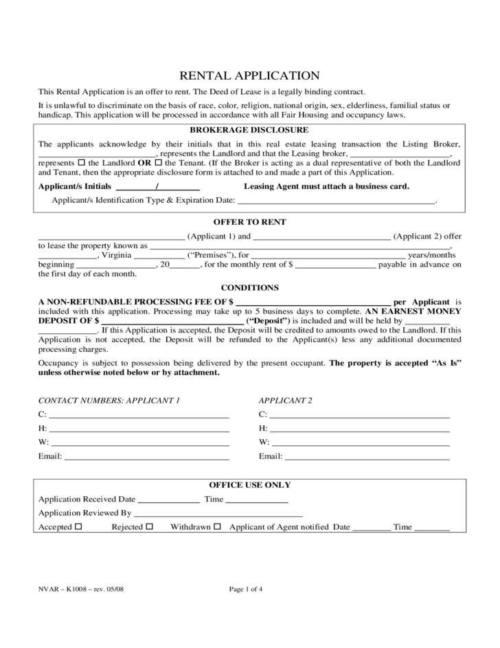 Virginia Rental Application Form Free Download