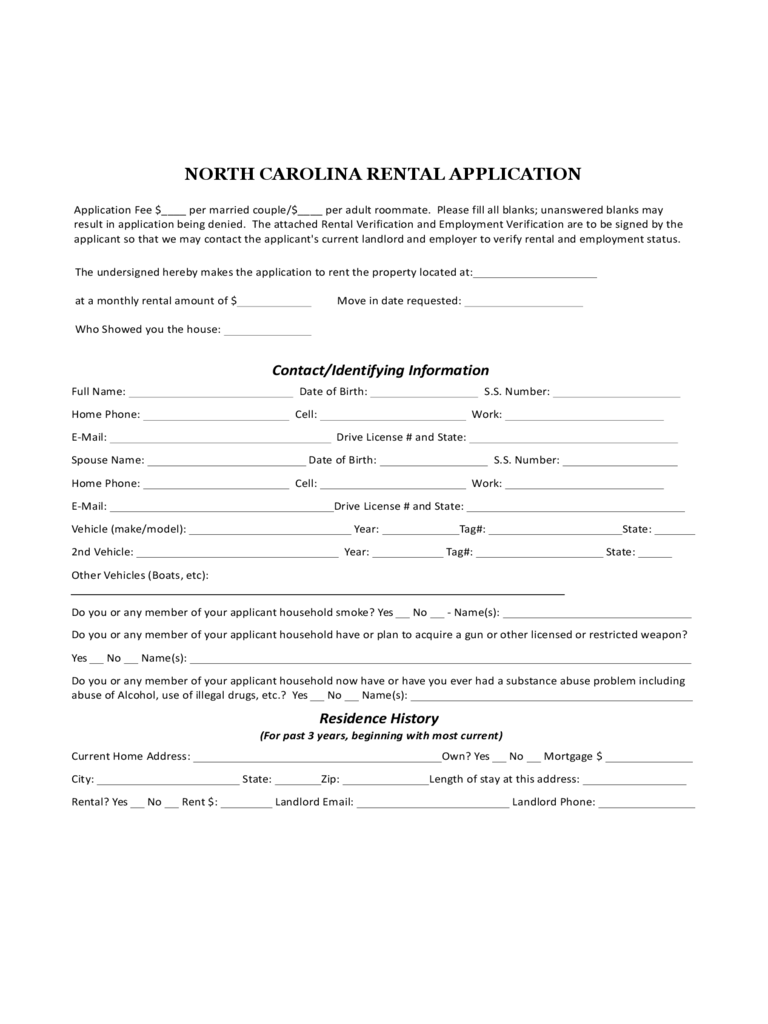 North Carolina Rental Application Form