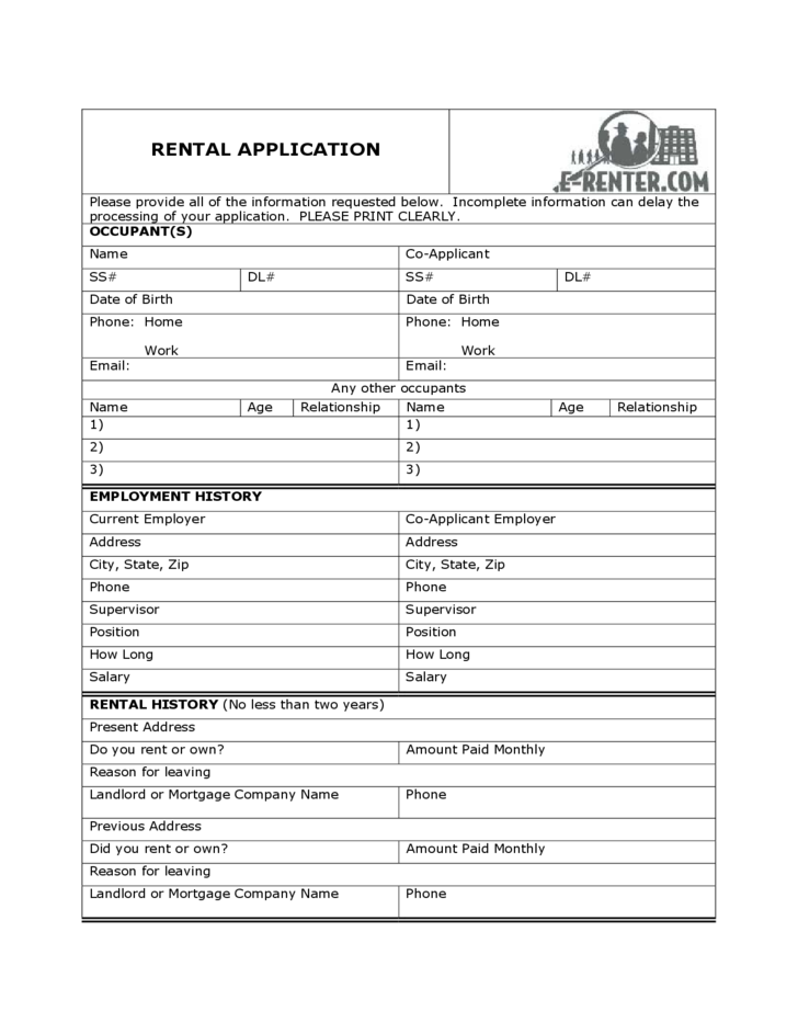 sample rental application form free download