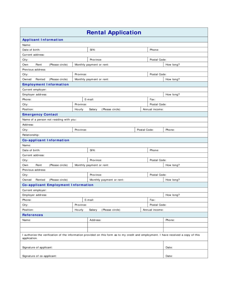 standard rental application form free download