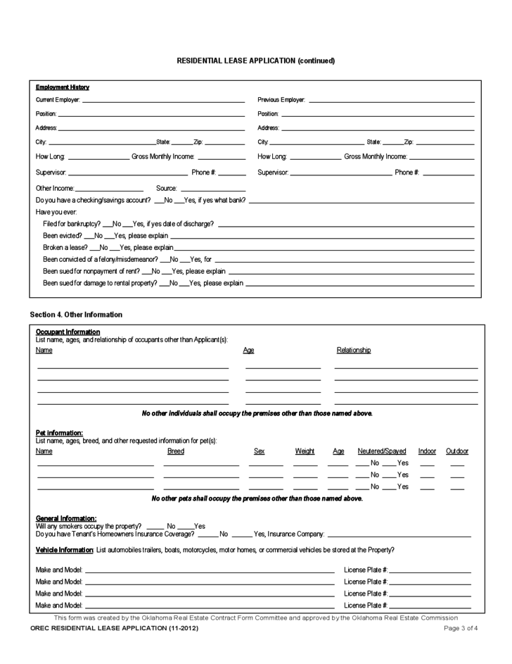 Residential Lease Application Oklahoma Free Download