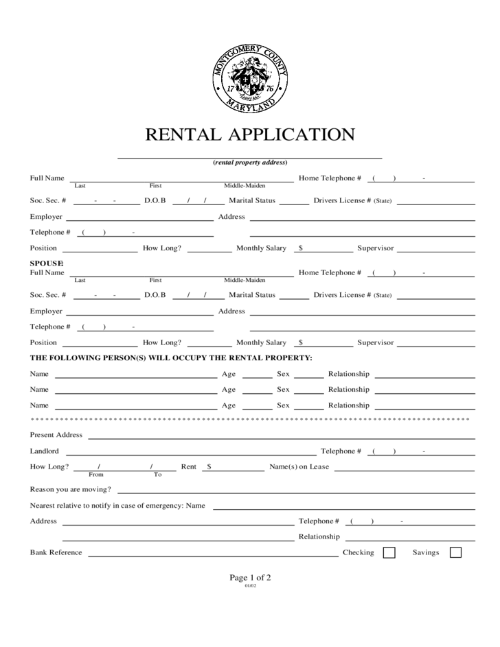 Rental Application - Montgomery