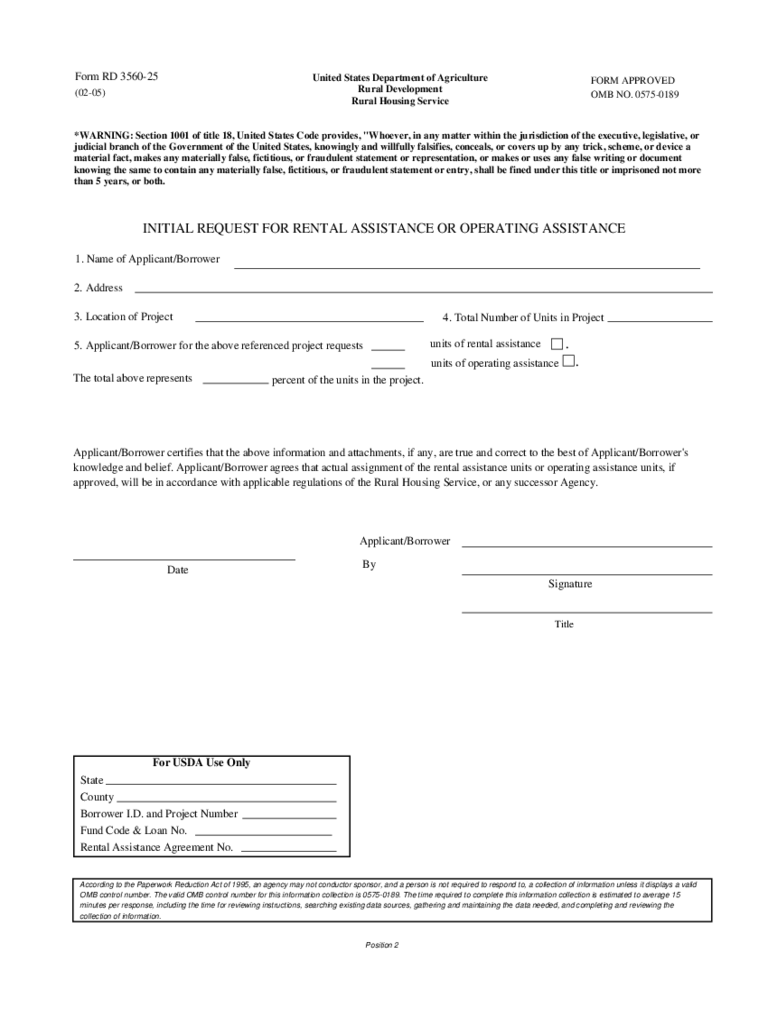 Rental Assistance Sample Form