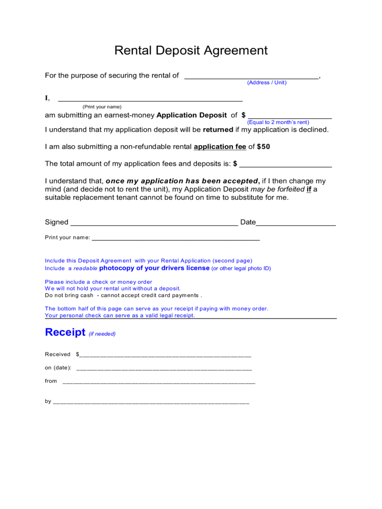 Sample Form for Rental Deposit