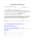 Sample Form for Rental Deposit Free Download