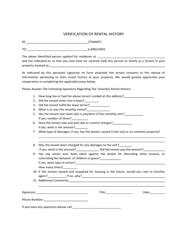 Rental History Verification Form 2 Free Templates in PDF Word – Landlord Verification Letter Sample