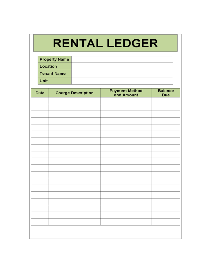 Calendar Monthly Rent : Rental ledger sample template free download